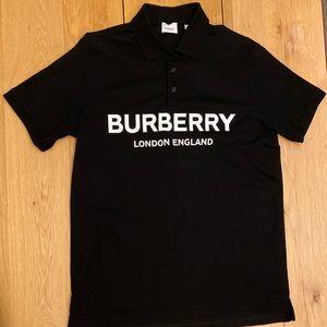 Burberry Logo Print Cotton Piqué Polo Shirt Black
